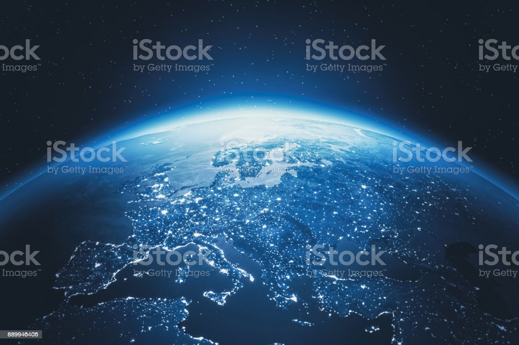 Cinematic Blue Earth View From Space At Night To Europe stock photo
