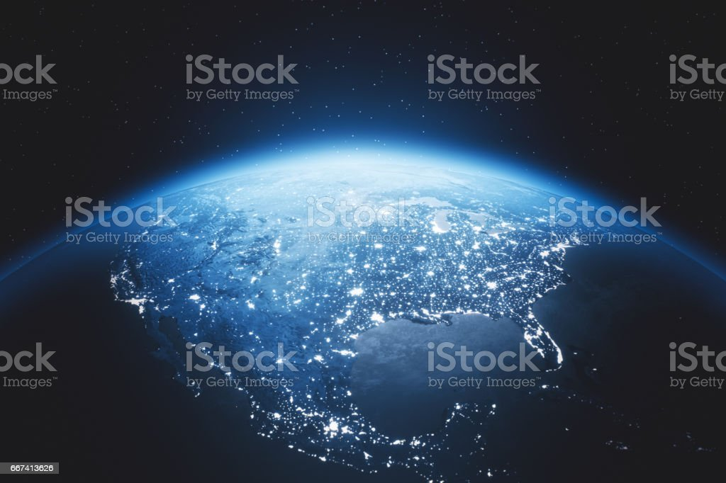 Cinematic Blue Earth View From Space At Night To North America - foto stock