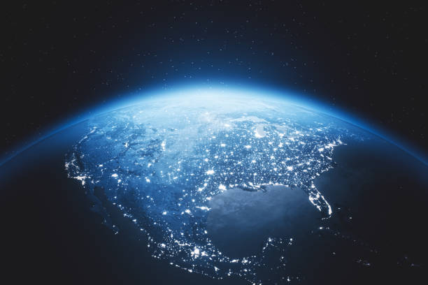 Cinematic Blue Earth View From Space At Night To North America stock photo