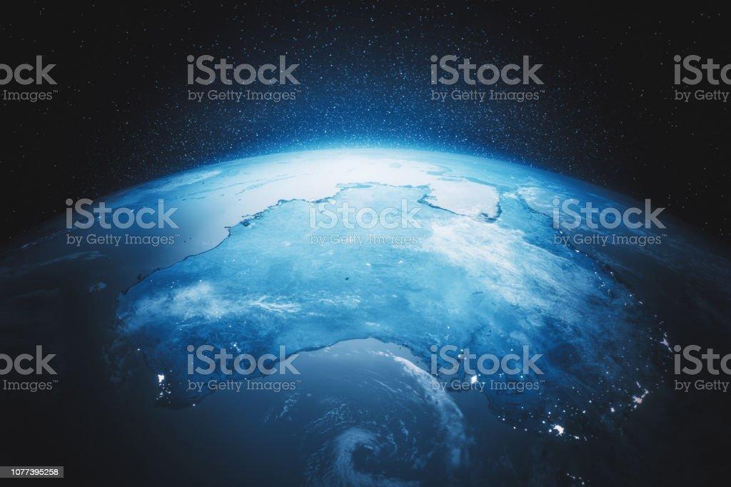 Cine azul tierra vista desde el espacio por la noche a Oceanía (créditos de texturas a la NASA) foto de stock libre de derechos