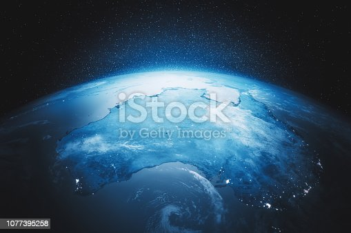 Earth with city lights view from space at night. (Heavily post processed NASA textures used for high quality 3d render.)