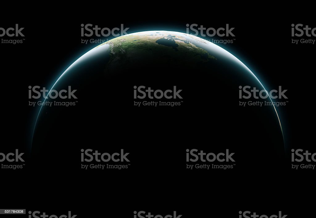Cinematic crescent Earth viewing from space at daytime.