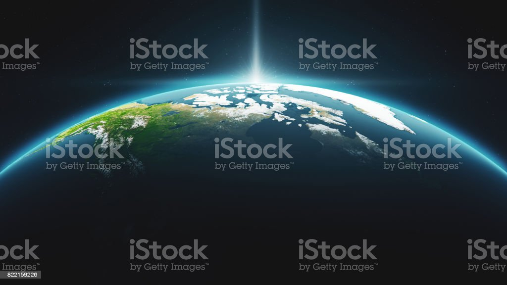 Cinematic Crescent Earth View From Space At Daytime With Sunrise stock photo