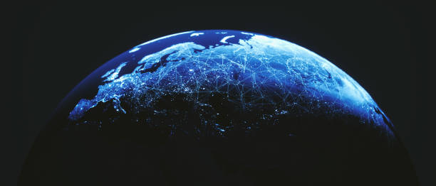 Cinematic Globe With City Connections (World Map Courtesy Of NASA) stock photo