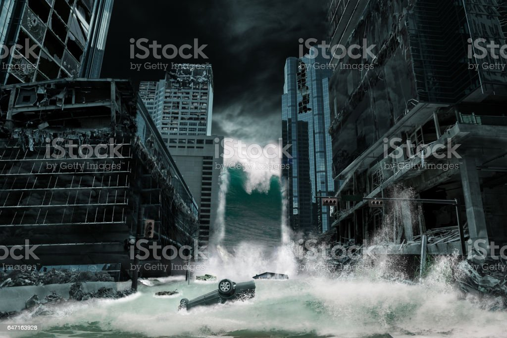 Cinematic Portrayal of a City Destroyed by Tsunami stock photo