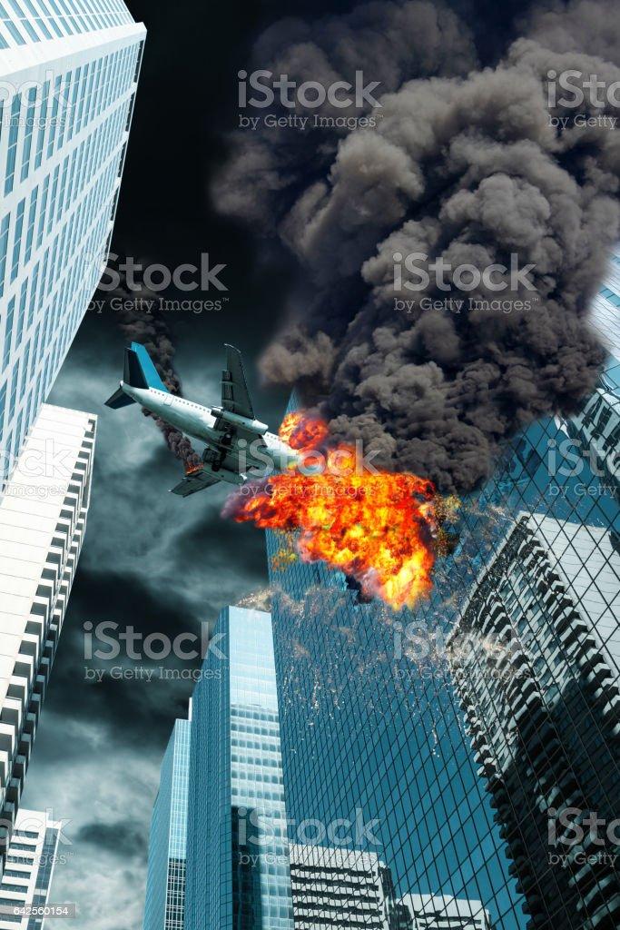 Cinematic Portrayal of Airplane Crashing Onto City Building stock photo