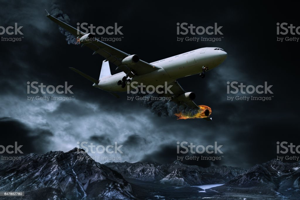 Cinematic Portrayal of Airplane With Engine Fire stock photo