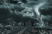 A cinematic portrayal of a tornado or hurricane's detailed destruction along its path toward fictitious city with flying debris and collapsing structures. Concept of natural disasters, judgment day, apocalypse.  Elements in this cityscape were carefully created, modified and manipulated to resemble a fictitious disaster scene. I shot the original photo of the area in downtown Vancouver for this purpose (see attached photo).