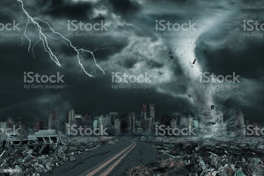 Cinematic Portrayal of City Destroyed by Tornado or Hurricane stock photo