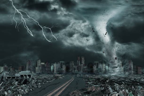 cinematic portrayal of city destroyed by tornado or hurricane - destruição imagens e fotografias de stock