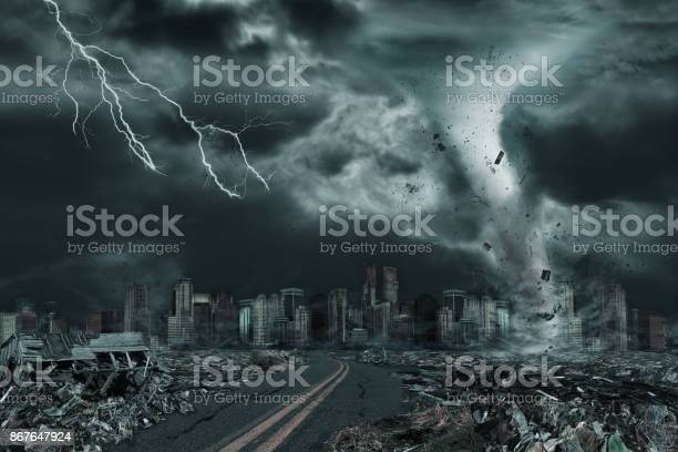 Photo of Cinematic Portrayal of City Destroyed by Tornado or Hurricane