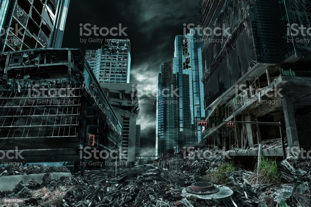 Cinematic Portrayal of Destroyed and Deserted City stock photo