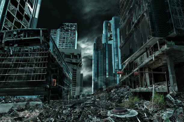 cinematic portrayal of destroyed and deserted city - abandoned stock photos and pictures