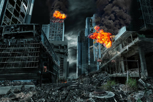cinematic portrayal of destroyed city - arruinado imagens e fotografias de stock
