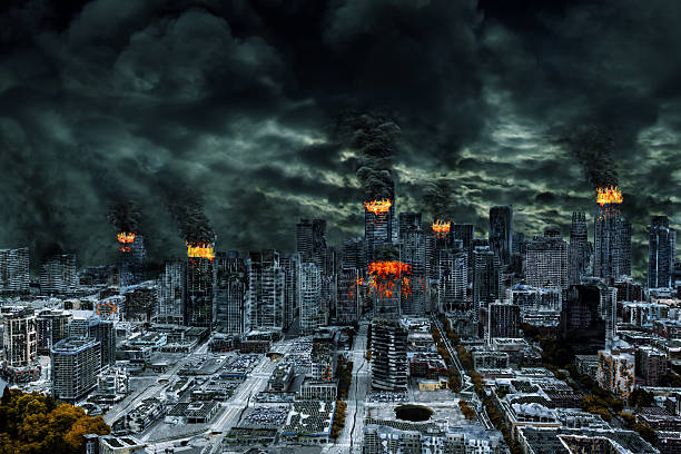 cinematic portrayal of destroyed city with copy space - nuclear weapon stock photos and pictures