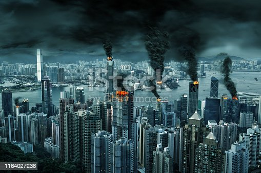3D illustration of fictitious destruction of chaotic Hong Kong city skyline with fires, explosion. Concept of riots, war, disasters, judgement day, fire, terrorism, apocalypse. Created entirely in Photoshop.