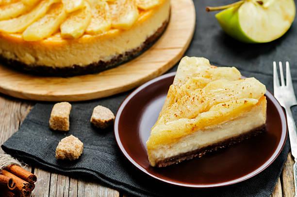 Cinnamon apple caramel cheesecake stock photo