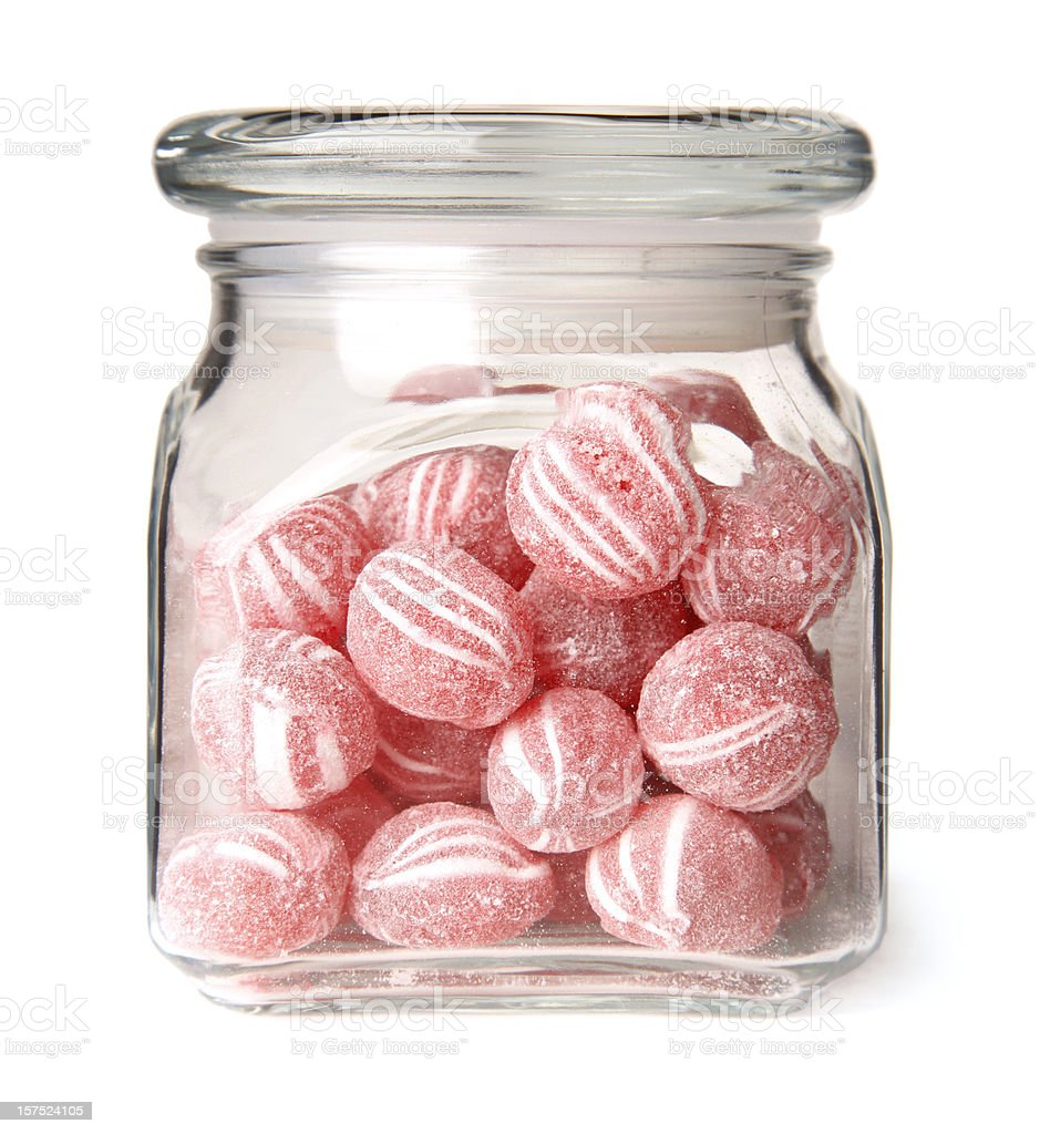Cinnamon Balls Candy in a Glass Jar stock photo