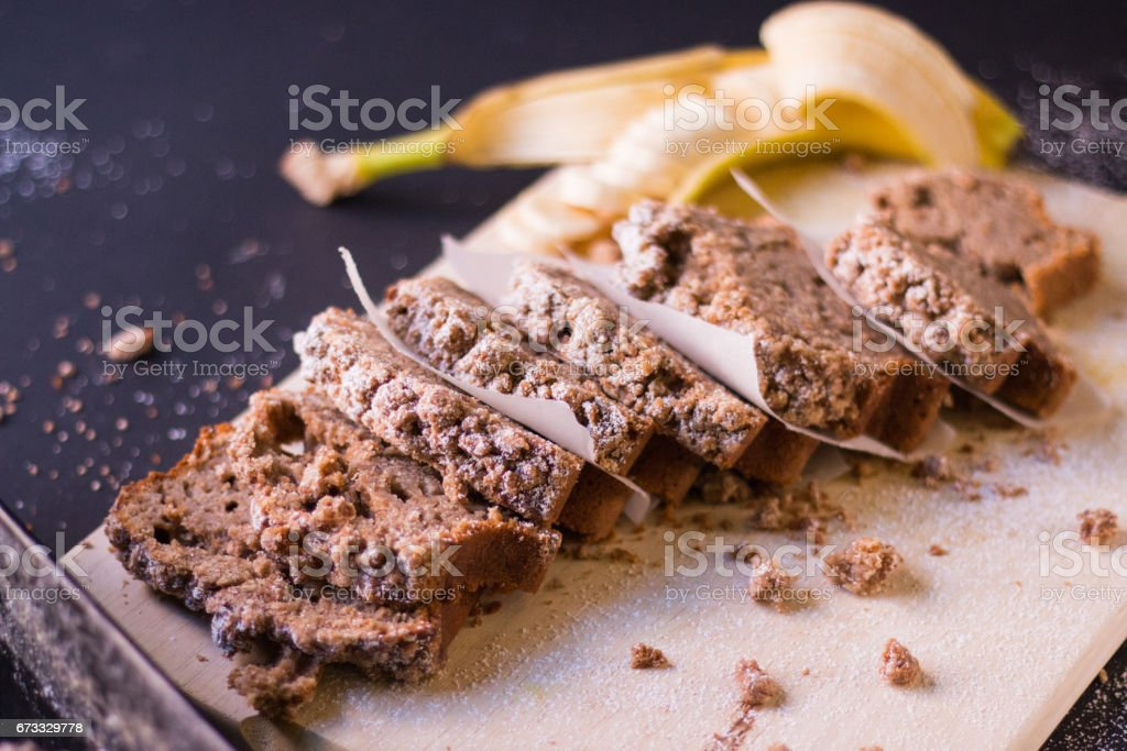 Cinnamon banana streusel bread stock photo