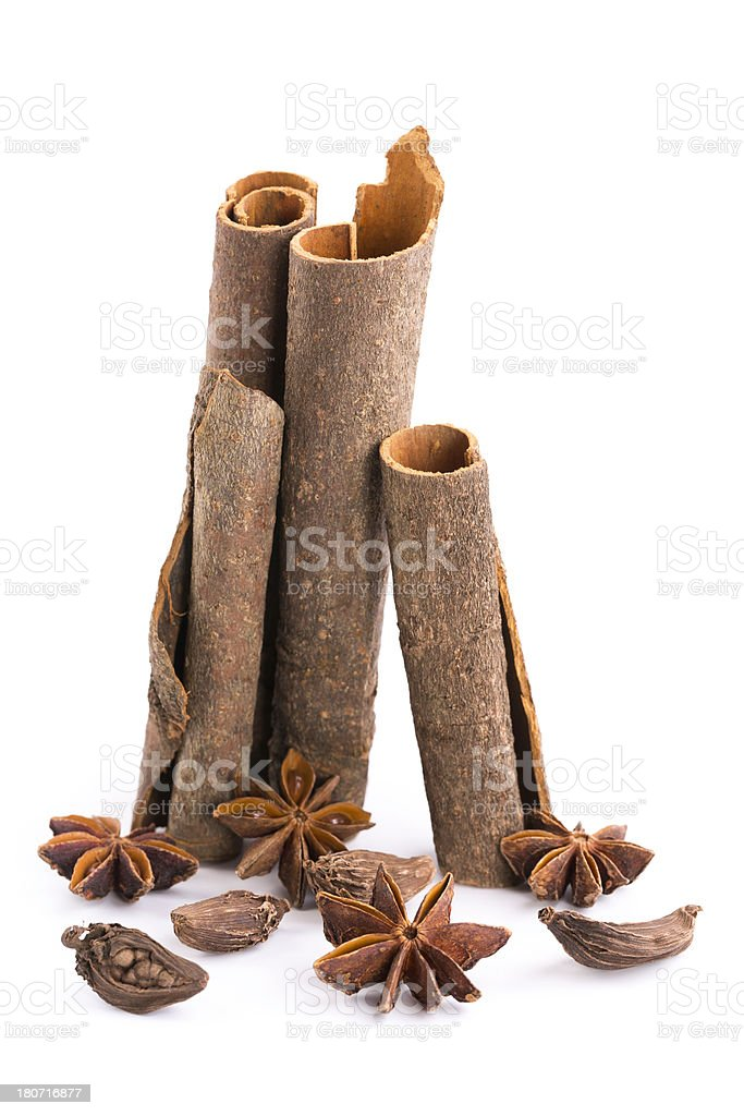 cinnamon,  black cardamom and anise royalty-free stock photo
