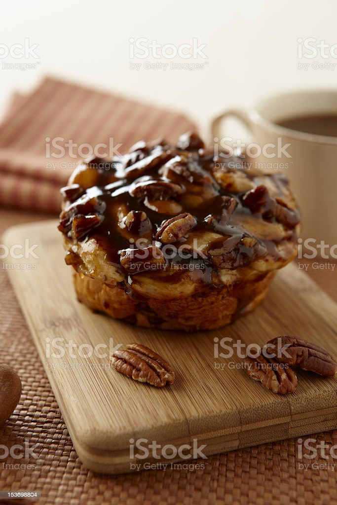 Cinnamon Bun with coffee stock photo