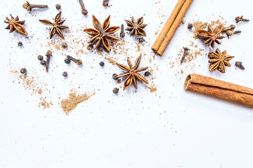 istock Cinnamon, cloves and star anise with isolated on white background. 903298498
