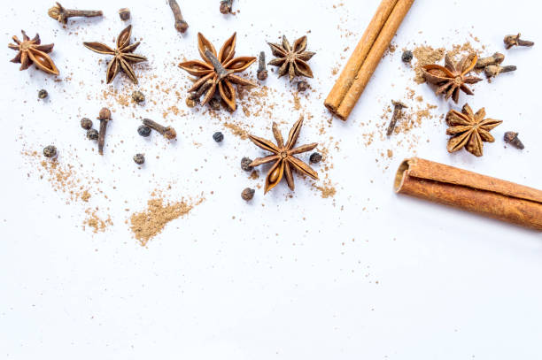 Cinnamon, cloves and star anise with isolated on white background. Cinnamon, cloves and star anise with isolated on white background. Top view or flat lay. star anise on white stock pictures, royalty-free photos & images