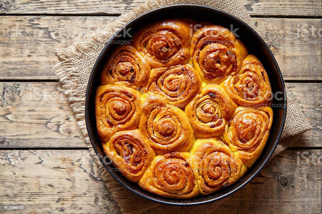 Cinnamon dough bun rolls spicy traditional Danish baked vegan sweet stock photo