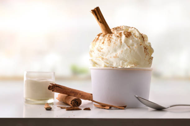 Cinnamon ice cream cup on white table homemade in kitchen stock photo