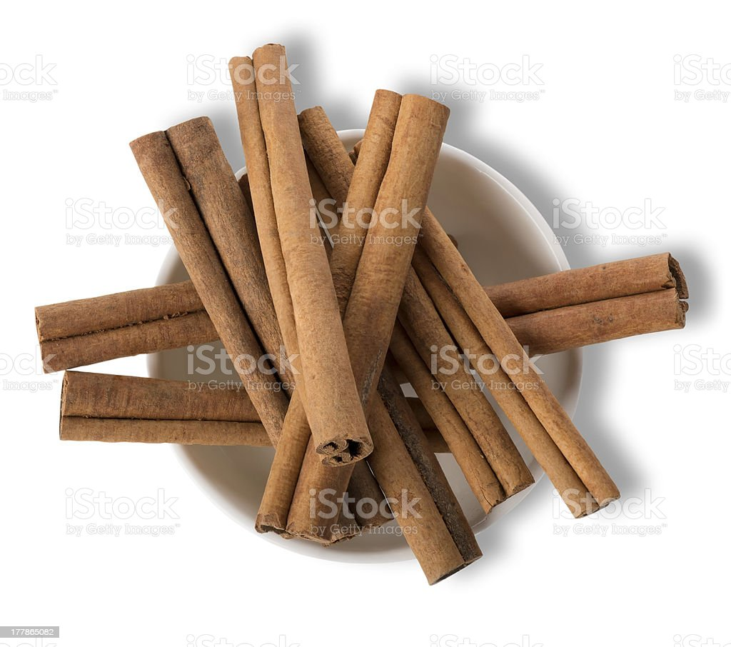 Cinnamon in plate isolated royalty-free stock photo