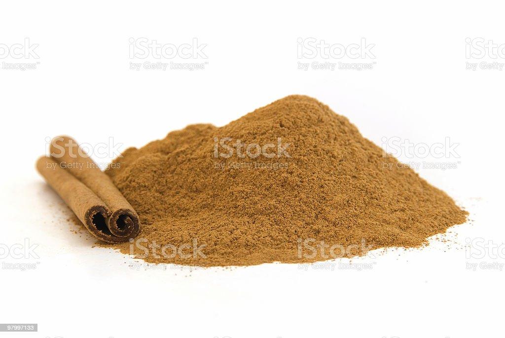Cinnamon on white background royalty-free stock photo
