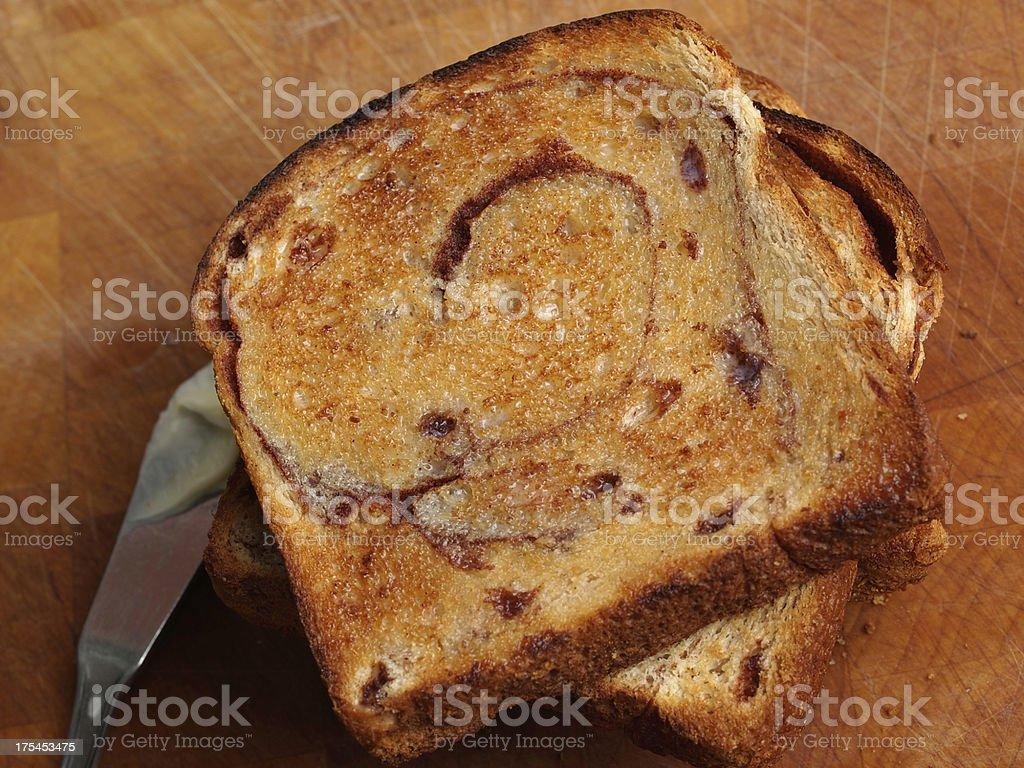 Cinnamon Raisin Bread Toast stock photo