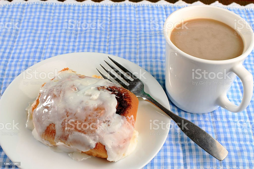 Cinnamon Roll with Coffee royalty-free stock photo
