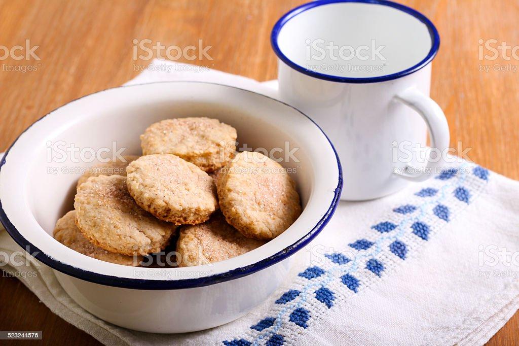 Cinnamon shortbread cookies stock photo