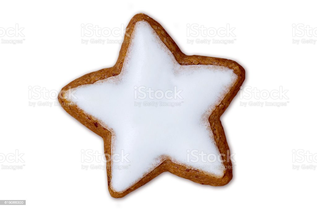 Cinnamon star isolated on white background stock photo