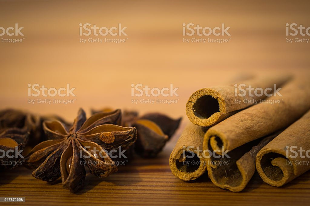 Cinnamon Sticks And Spicy Star Anise Seeds Stock Photo