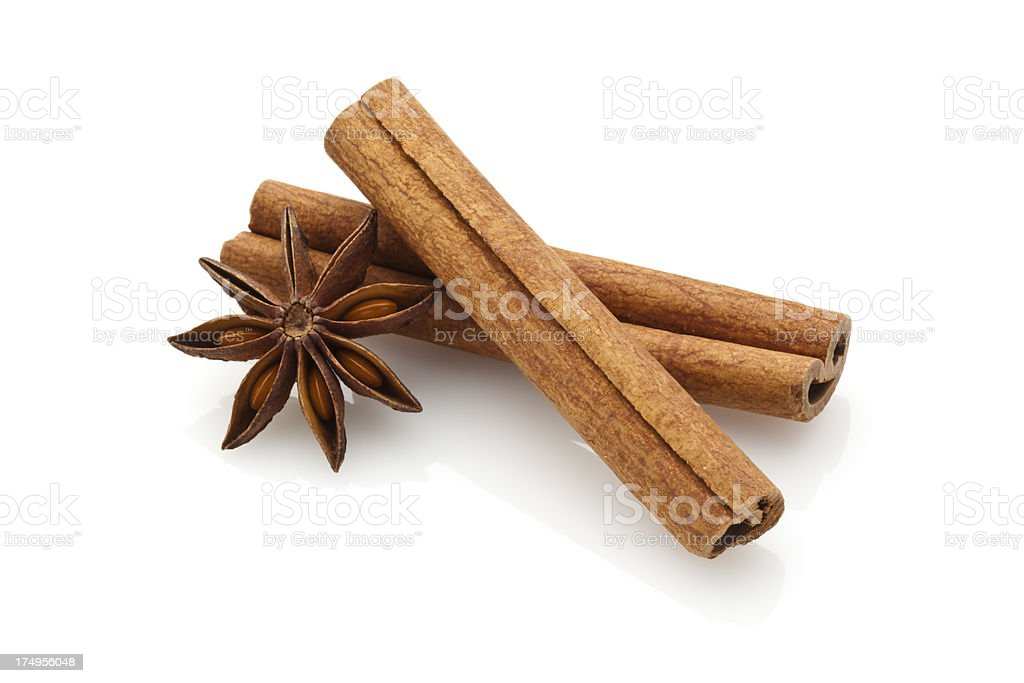 Cinnamon Sticks and Star Anise Cinnamon Sticks and Star Anise Isolated on White Background Brown Stock Photo