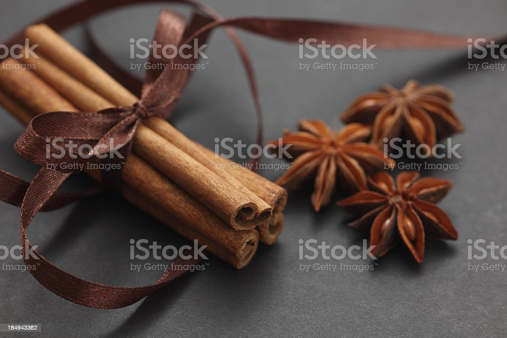 Cinnamon sticks and star anise royalty-free stock photo