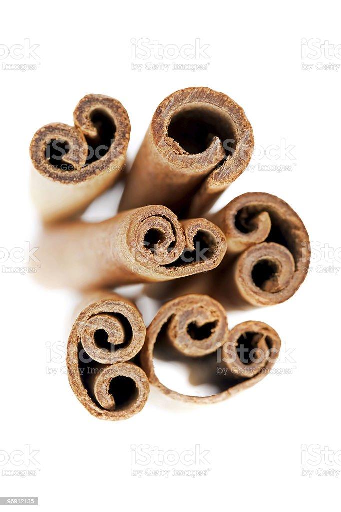 Cinnamon sticks isolated on white royalty-free stock photo