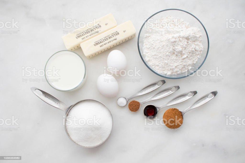 Cinnamon Sugar Muffin Ingredients stock photo