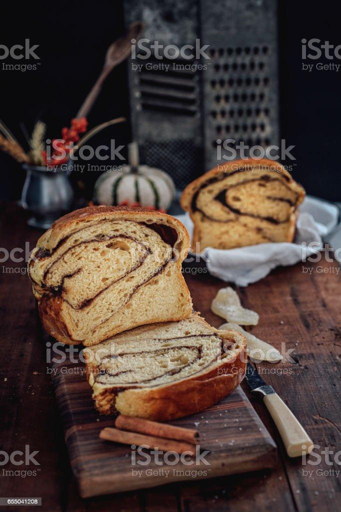 Cinnamon Swirl Bread stock photo