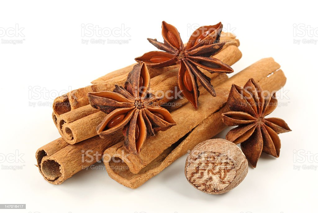 Cinnamon,anise and nutmeg stock photo