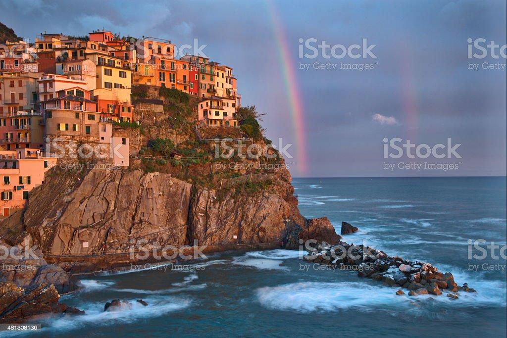 Cinque Terre Italy Town of Manarola at Sunset stock photo