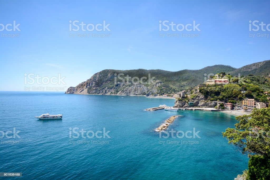 Cinque Terre: View to Monterosso al Mare beach from the Vernazza hiking trail in early summer, Liguria Italy Europe stock photo