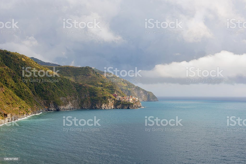 Cinqueterre park in a thunderstorm royalty-free stock photo