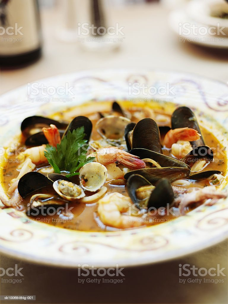 Cioppino with prawns, mussels, clams, and calamari, close-up royalty-free stock photo