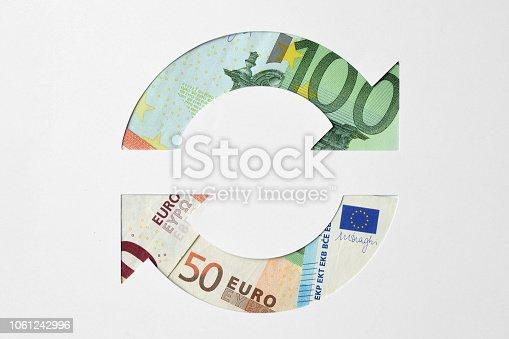istock Circle arrows made of euro banknotes -  Money circulation concept 1061242996