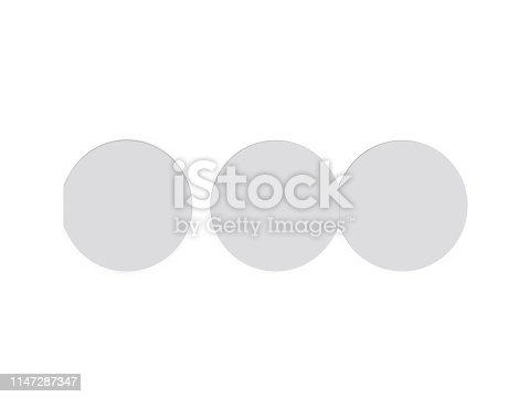 932100364 istock photo Circle bi fold brochure mock up template on isolated white background, blank white template for  presentation design. 3d illustration 1147287347