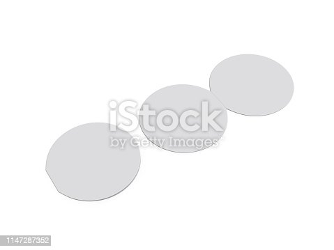932100364 istock photo Circle bi fold brochure mock up template on isolated white background, blank white template for  presentation design. 3d illustration 1147287352