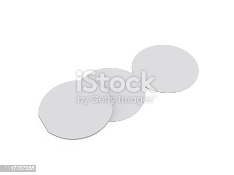 932100364 istock photo Circle bi fold brochure mock up template on isolated white background, blank white template for  presentation design. 3d illustration 1147287355